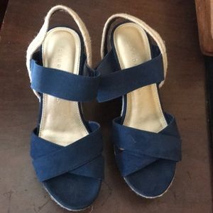 Studio Paolo Blue Suede like Wedge Sandals